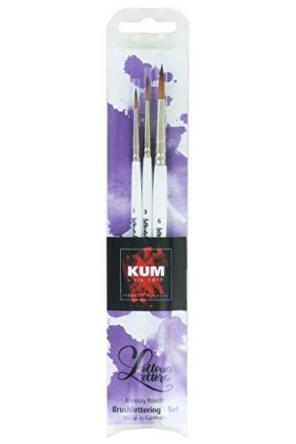 Kum 5119416 - Memory Point Brushlettering Set, Breite 1, 3 & 6, drei Pinsel im Set, weiß