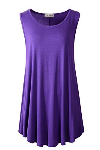 LARACE Women Solid Sleeveless Tunic for Leggings Swing Flare Tank Tops (1X, Deep Purple)