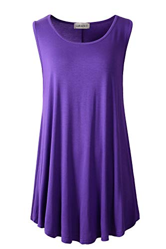LARACE Women Solid Sleeveless Tunic for Leggings Swing Flare Tank Tops (L, Deep Purple)