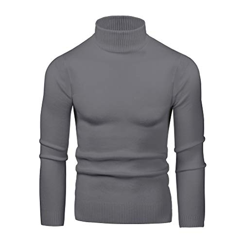 Ellymi Mens Casual Basic Design Ribbed Slim Fit Long Sleeve Knitted Pullover Turtleneck Thermal Sweater Dark Gray