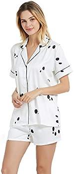 Inadays Women's Silky Satin Pajamas Set (XL in White Dot or Flower)