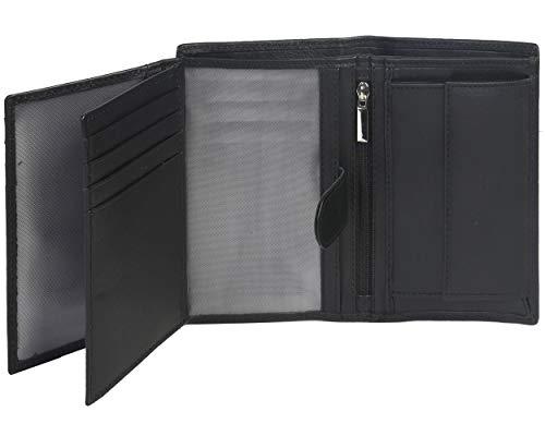 Eono by Amazon - Cartera de Cuero para Mujer y Hombre con diseño Plano y protección contra Lectura RFID (Cuero marrón Vintage/Aspecto Usado) (Cuero napa Vacuno Negro)