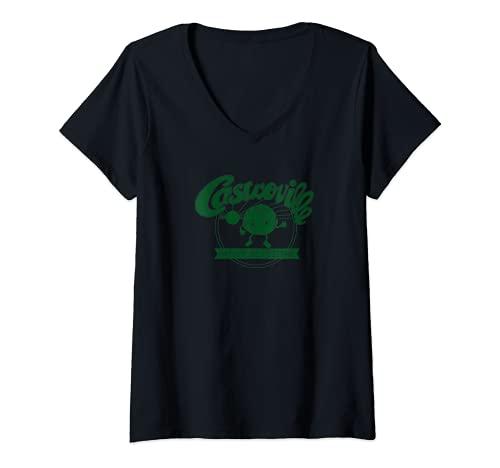 Mujer Camiseta retro y vintage de Castroville Artchoke Festival Dustin Camiseta Cuello V