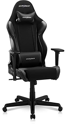DXRacer OH/RAA106 Racing Series Adjustable Ergonomic Computer Gaming Home Office Leather Desk Chair with Lumbar Support, Swivel Base, Wheels, and Headrest, Standard, Black