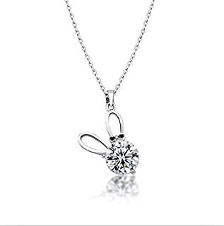 Silver plated rabbit Zircon Necklace