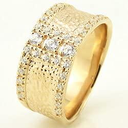 [ジュエリーアイ]Jewelry i 指輪 10金 ダイヤモンドリング 幅広 イエローゴールドK10 ピンキーリング ギフト 12.5号