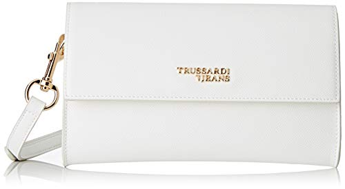 Trussardi Jeans Damen T-easy Light Clutch Tote-Bag, Weiß (Off/White), 24x14x1 centimeters