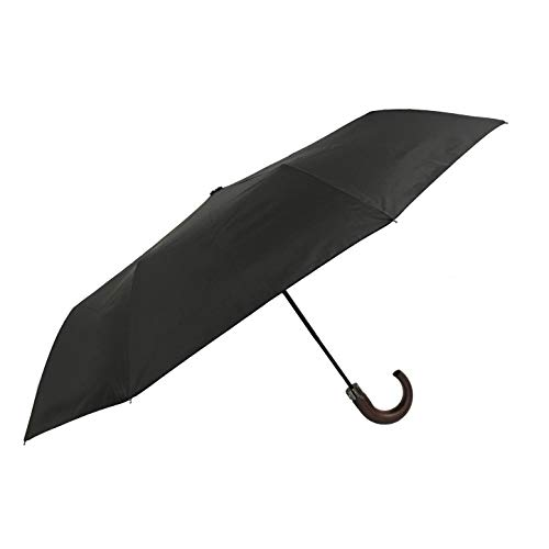 SMATI Regenschirm für Damen und Herren, aus recyceltem Stoff, umweltfreundlich, robust, winddicht, automatische Öffnung, faltbar, kompakt, Reise (schwarz)