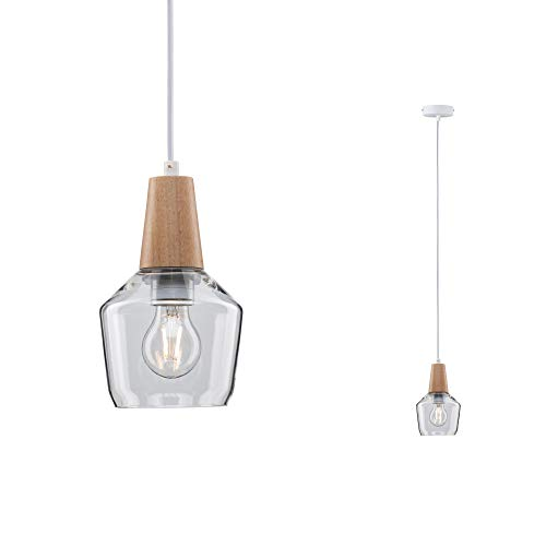 Paulmann 79745 Neordic Ylvie Pendelleuchte max. 1x20W Hängelampe für E27 Lampen Deckenlampe Klar 230V Glas/Holz ohne Leuchtmittel