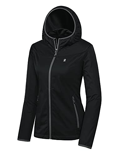 Little Donkey Andy Women's Lightweight Hooded Softshell Jacket for Running Travel Hiking, Windproof, Water Repellent Black Size XL