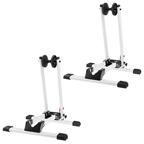 2x WELLGRO Fahrradständer - für Vorderrad oder Hinterrad, Stahl, weiß, platzsparend zusammenklappbar