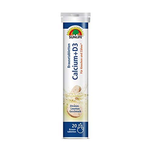 SUNLIFE Calcium+D3 Brausetabletten: Für Knochen und Zähne, 20 Tabletten mit Calcium & Vitamin D3, Zitronengeschmack, 80g