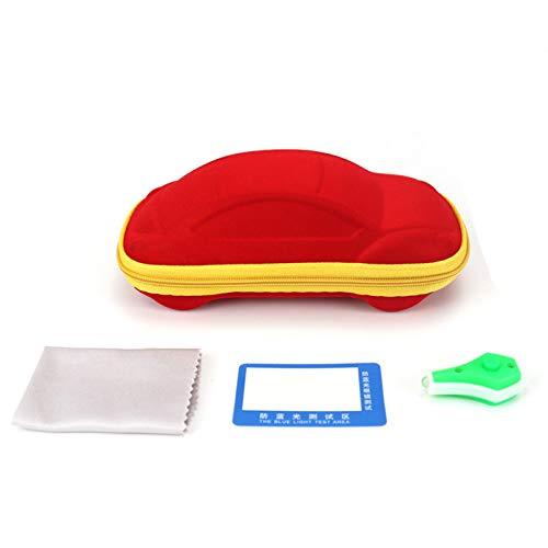 Funda de gafas para niños en forma de coche, funda de neopreno con cremallera y lámpara LED UV, se puede utilizar para identificar monedas falsificadas, pasaporte (color aleatorio)