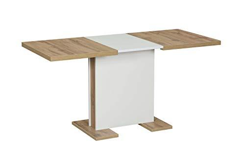 Interdesign24 Esstisch Ausziehbar Erweiterbar Säulentisch in Eiche Weiss 110-150cm