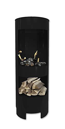 Ethanolkamin Gelkamin Höhe:100cm / Breite:37cm / Tiefe: 35 cm/Säule Kamin Schwarz mit Holzfach Inklusive: 3 x Brennstoff-Behälter