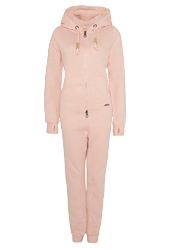 Eight2Nine Damen Sweat Overall | Kuscheliger Jumpsuit | Einteiler aus bequemen Sweat-Material einfarbig Rose L/XL - 2