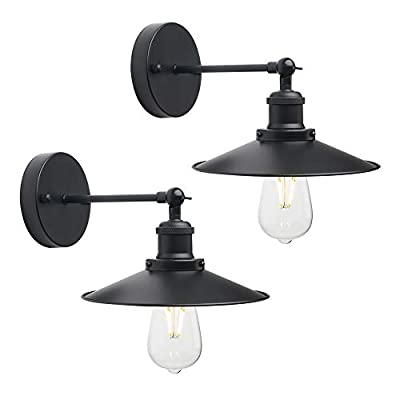 CeilSong Black Wall Lights Antique Industrial Sconce Lamps 240 Degree Adjustable Up or Down Vintage Art Decor Wall Lights for Kitchen, Lobby, Dining Room, Restaurant, Set of Two (Black)