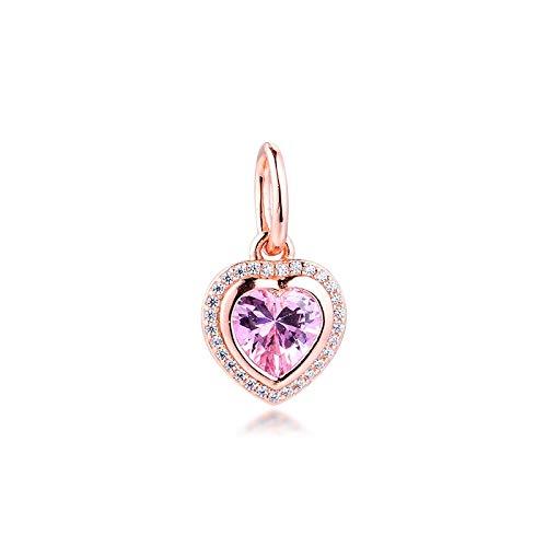 LILANG Pulsera de joyería Pandora 925, Cuentas de Metal de Amor Brillante de Plata de Ley auténtica Natural para Abalorios de Oro Rosa para Mujeres, Regalo DIY