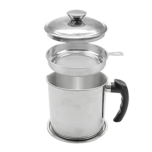 Bacon Grease Container,Kitchen Oil Container Can with Strainer and Anti-slip coaster tray for Store Meat Frying Oil and Cooking Grease Storage (Silver)