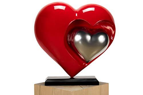 Kunstloft Extravagante Escultura You and Me' 44x20x47cm | Moderna Figura de Piedra Artificial | Corazón Decoración Plateado Rojo | Estatua única