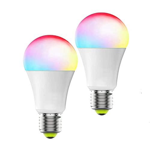 LEOZIE 2 pack Smart LED Glühbirne E27 Dimmbar Warmweiß-Kaltweiß und Mehrfarbige Birne Wi-Fi-Steuerung kompatibel mit Alexa und Google Home