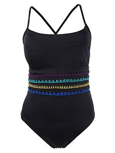 Soluna Women's Summer Solstice Stitched One-Piece Swimsuit (L, Black)