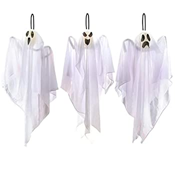 JOYIN 3 Pack Halloween Party Decoration 25.5  Hanging Ghosts Cute Flying Ghost for Front Yard Patio Lawn Garden Party Décor and Holiday Decorations