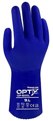 Wonder Grip OP-600L Opty - Chemiekalienschutzhandschuhe, chemikalienbeständig, säurebeständig, dreifache PVC-Beschichtung; Anti-Rutsch Schutzhandschuhe für Beständigkeit gegen Öle und Chlor; L / 09