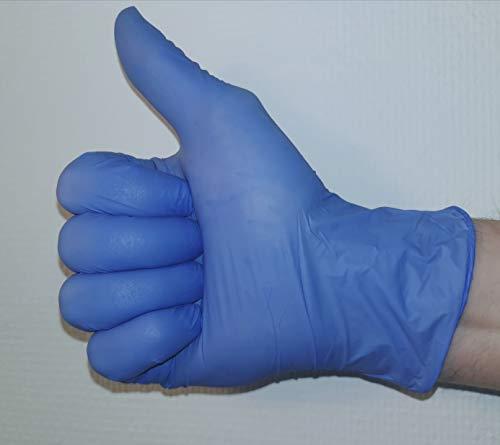 Nitrilhandschuhe, Nitril Handschuhe, Ärztehandschuhe, Virenschutz Handschuhe, Einweghandschuhe, latexfrei, puderfrei, blau, 100 Stück (Größe: S)