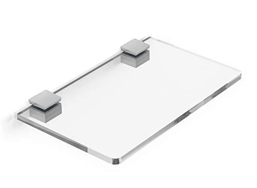 Mensola in plexiglass trasparente 25x15 cm spessore 8mm completa di reggi mensola, arredo casa, ufficio, negozio