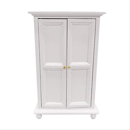xxkj Mini Doll House Holzmöbel Schaukeln Zweitüriger Schrank Schlafzimmer Kleiderschrank Dekorationen