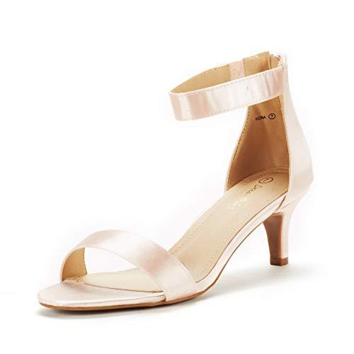 DREAM PAIRS Women's Fiona Champagne Fashion Stilettos Open Toe Pump Heeled Sandals Size 8 B(M) US