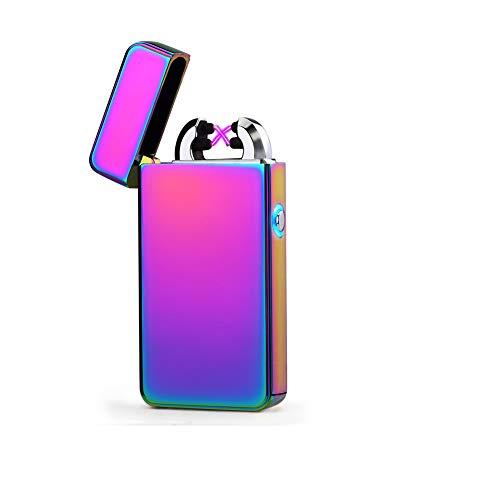 Green Grass USB Feuerzeug,Elektronisches Feuerzeug Outdoor-Feuerzeug Double-Arc Elektronisches Lighter Aufladbar ohne Gas Bestes Geschenk Purple