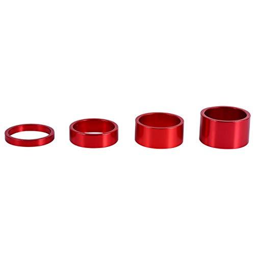 Fishlor Juego de Arandelas para Auriculares, 4 Colores 4 Piezas/Juego 5 mm / 10 mm / 15 mm / 20 mm Aleación de Aluminio Auriculares Espaciador Bicicleta Frente Tallo Tenedor de arandela(Rojo)