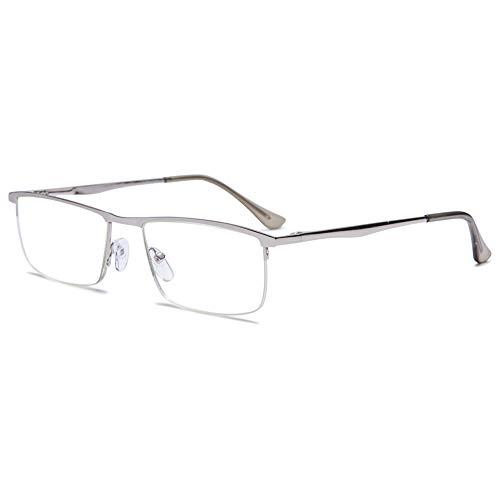 VEVESMUNDO Blaulichtfilter Lesebrillen Metall Herren Federscharniere Halber Rechteckig Rahmen Lesehilfe Sehhilfe Brille mit Sehstärke 1.0 1.5 2.0 2.5 3.0 3.5 4.0 (1 Stück Silber, 2.0)