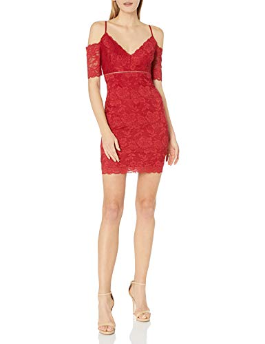 Guess vestido de encaje con hombros descubiertos para mujer - Rojo - X-Large
