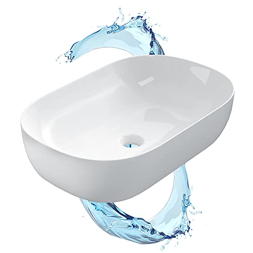 STARBATH PLUS - Lavabo sobre encimera - Lavabo ovalado blanco brillante - Cerámica extrafina - Diámetro de agujero de desagüe universal - 61 x 40 x 15 cm