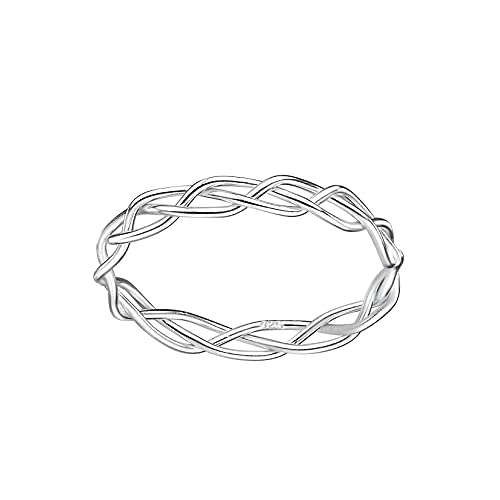 Weaved Plait Sterling Silver Band Ring 3mm (P)