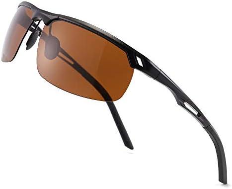 SUNGAIT HD Polarized Sunglasses for Men Al Mg Metal Frame Driving Fishing UV400 Black Frame product image