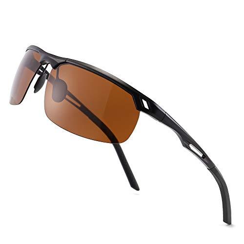 SUNGAIT HD Polarized Sunglasses for Men, Al-Mg Metal Frame,Driving Fishing UV400 (Black Frame/Brown Lens)8550HEKC