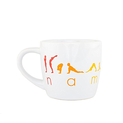 Bodhi YogiMug Keramiktasse 'Happy Namaskar'   Keramiktasse (weiß) mit Design-Print   nicht nur für Yoga-Fans   Kaffeetasse, Teetasse, Chai  ...