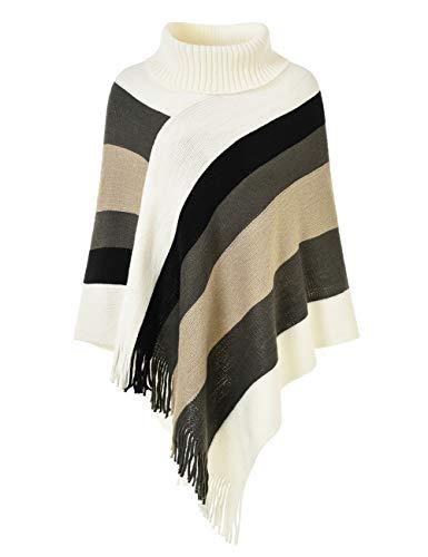 Ferand Eleganter Damen-Strick-Poncho, Oberteil mit Streifen-Muster und Fransen an den Seiten - -