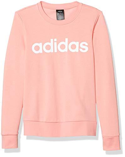 adidas Essentials Linear Crewneck Felpa, Rosa Glory/Bianco, L Donna