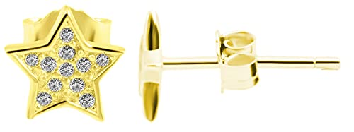 Pendientes de plata de ley 925 para mujer, chapados en oro, circonitas blancas, estrella, 925 rodiada