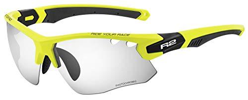 R&R R2 Multi-Sportbrille Crown | Radbrille | Sonnenbrille | Fahrradbrille | Laufbrille | Crossbrille für Damen und Herren (Neongelb/schwarz, Selbsttönend)