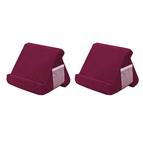 FLAMEER 2pcs Multi Angle Tablet Stand Pillow Holder Bed Support Cushion Wine Red