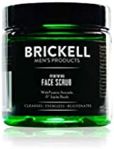 Brickell Men's Renewing Face Scrub for Men, Natural and Organic Deep Exfoliating Facial Scrub Formulated with Jojoba Beads, Coffee Extract and Pumice, 2 Ounce, Scented