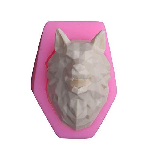 JLGG Géométrique 3D Loup Tête Fudge Moule en Silicone Gâteau Décoration Moule Baume Moule DIY Moule De Qualité Alimentaire Antiadhésive Appareil De Cuisson 3D Moule