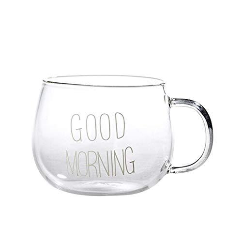 XXSHN Taza de Agua Taza de Vidrio Creativa Carta Jugo de Leche Taza de café con Agua Tazas con Mango Transparente Hogar Oficina Vasos Regalos para Parejas 350ML (Color: Letra Blanca)