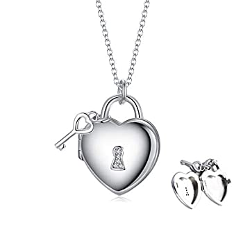 Personalized Sterling Silver Heart Locket Necklace That Holds Pictures Lock and Key Pendant for Women Mom  Lock & Key Necklace
